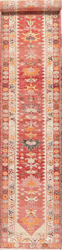 Geometric Red Oushak Turkish Oriental Runner Rug 3x15