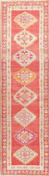 Red Kazak-Chechen Oriental Runner Rug 3x11