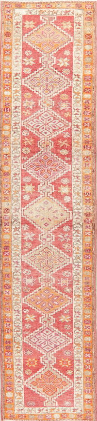 Geometric Oushak Turkish Oriental Wool Runner Rug 3x11