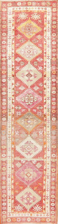 Vegetable Dye Red Kazak-Chechen Oriental Runner Rug 3x11
