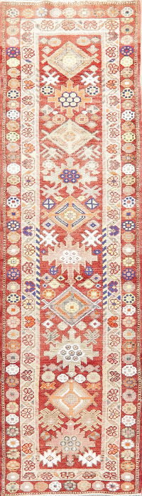 Vegetable Dye Oushak Turkish Oriental Wool Runner Rug 3x10
