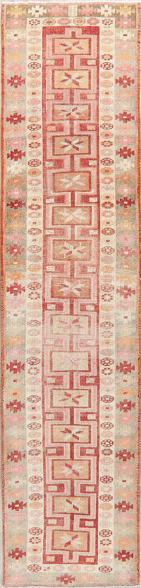 Vegetable Dye Kazak Oushak Turkish Runner Rug 3x11