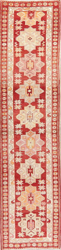 Vegetable Dye Oushak Turkish Oriental Wool Runner Rug 3x12