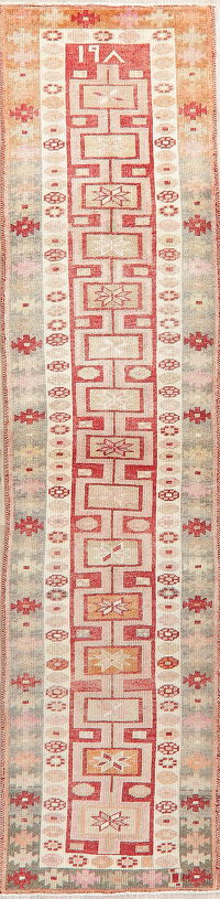 Vegetable Dye Oushak Turkish Oriental Wool Runner Rug 3x11