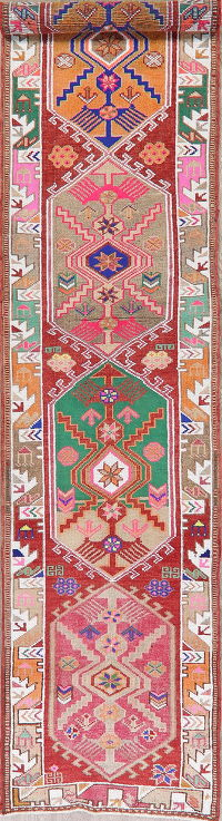 Vegetable Dye Oushak Turkish Oriental Runner Rug 3x13