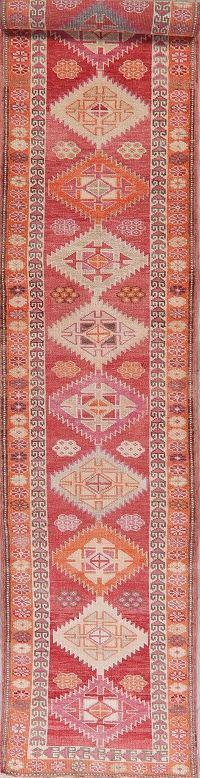 Vegetable Dye Oushak Turkish Oriental Runner Rugs 3x14