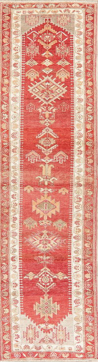 Vegetable Dye Geometric Oushak Turkish Runner Rugs 3x11