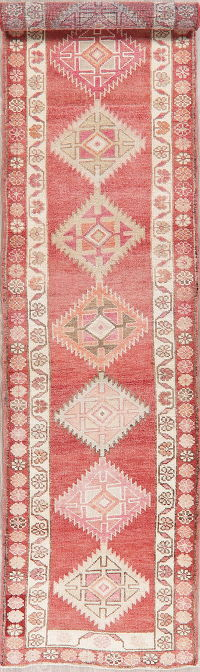 Vintage Red Oushak Turkish Wool Runner Rugs 3x13