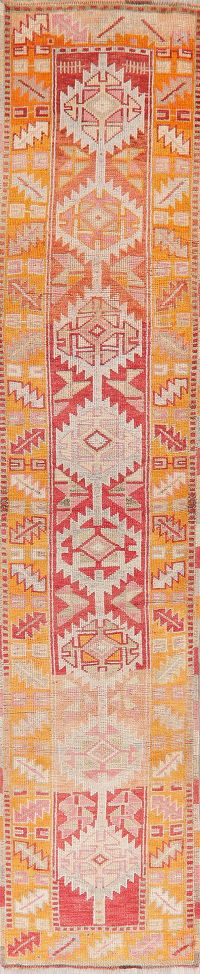 Vegetable Dye Oushak Turkish Wool Runner Rugs 3x12