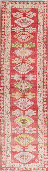 Geometric Oushak Turkish Oriental Wool Runner Rugs 3x11
