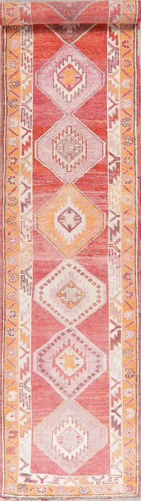 Red Oushak Turkish Oriental Wool Runners Rug 3x14