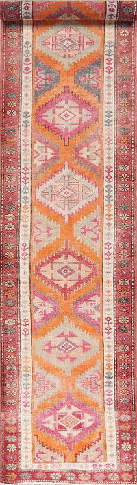 Vegetable Dye Oushak Turkish Wool Runner Rugs 3x13