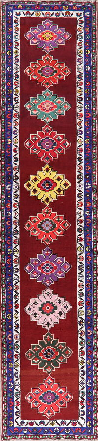 Geometric Oushak Turkish Wool Runner Rugs 3x12