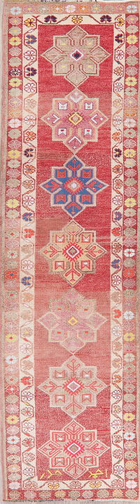 Vegetable Dye Oushak Turkish Wool Runner Rugs 3x11