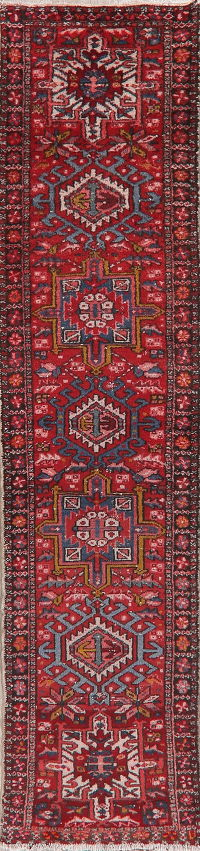 Tribal Red Gharajeh Persian Runner Rug 2x9