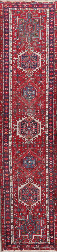 Antique Tribal Gharajeh Persian Runner Rug 3x13