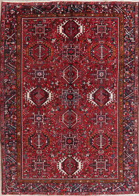 Tribal Red Gharajeh Persian Area Rug 8x11
