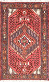 Geometric Red Hamedan Persian Wool Rug 3x5