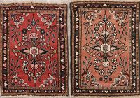 Set of 2 Vintage Hamedan Persian Wool Rugs 2x2 Square