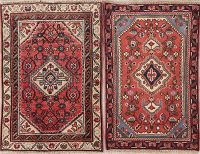 Set Of 2 Vintage Red Hamedan Persian Wool Rug 2x3