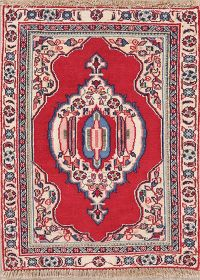 Geometric Red Sarouk Persian Wool Rug 2x3