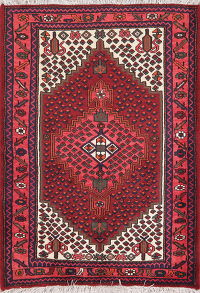 Geometric Red Hamedan Persian Wool Rug 4x5