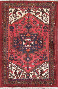 Tribal Coral Red Hamedan Persian Wool Rug 3x5