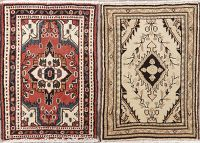 Set of 2 Geometric Hamedan Persian Wool Rugs 2x2 Square