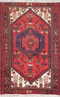 Tribal Geometric Hamedan Persian Wool Rug 3x5