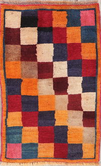 Multi-Color Checked Gabbeh Shiraz Persian Rug 2x3
