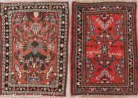 Set of 2 Hamedan Persian Wool Rugs 2x2 Square
