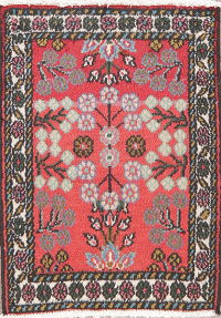 Coral Red Floral Hamedan Persian Wool Rug 2x2 Square