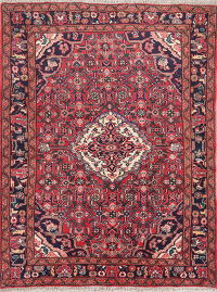 Red Geometric Hamedan Persian Wool Rug 4x5