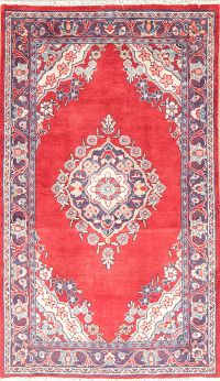 Vintage Floral Red Mahal Persian Wool Rug 4x6