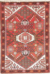 Red Hamedan Persian Wool Rug 3x5