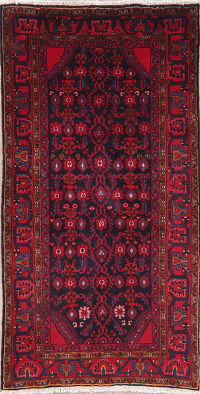 Navy Blue Tribal Zanjan Persian Wool Rug 4x7