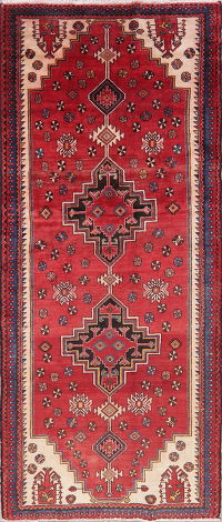 Vintage Red Bakhtiari Persian Runner Rugs 4x9