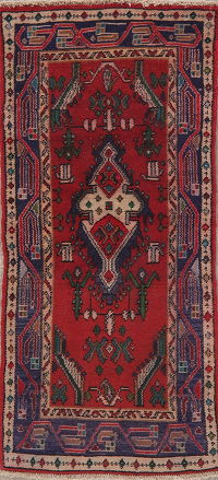 Vintage Red Hamedan Persian Wool Rug 2x4