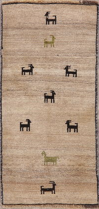 Brown Gabbeh Shiraz Persian Wool Rug 2x4