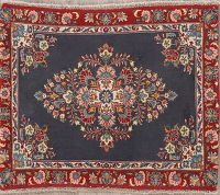 Vintage Navy Blue Floral Abadeh Persian Rug 3x3 Square