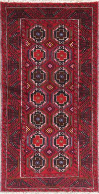 Geometric Red Balouch Persian Wool Rug 3x6