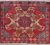 Vintage Red Bakhtiari Persian Wool Rug 2x2 Square