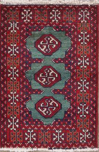 Green Geometric Balouch Persian Wool Rug 2x3
