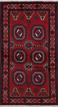 Geometric Red Balouch Persian Runner Rugs 3x6