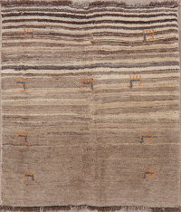 Stripe Gabbeh Shiraz Persian Rug 4x5