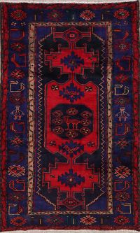 Tribal Navy Blue Hamedan Persian Wool Rug 4x7