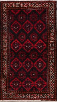 Geoemtric Black Hamedan Persian Wool Rug 4x7
