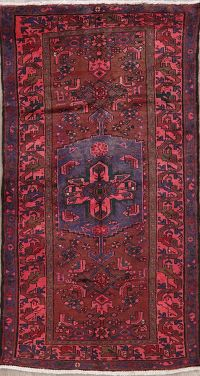 Vintage Red Hamedan Persian Wool Rug 4x7