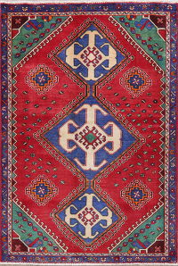 Vintage Red Shiraz Persian Area Rug 4x6