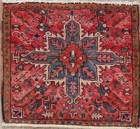 Red Heriz Persian Wool Rug 2x2 Square